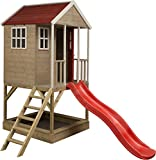 Maison en bois sur pilotis pour enfants avec toboggan
