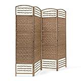 Relaxdays Paravent 4 panneaux bambou pliable protège de la lumière séparateur pièce pliant cloison mur HLP 179 x 180 x 2 cm, nature