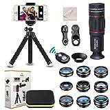 Phorsen 15 in 1 Kit Obiettivo Fotocamera Universale Teleobiettivo 18X Obiettivo grandangolare,Macro,fisheye,Filtro CPL Flusso Stella Radiale otturatore...