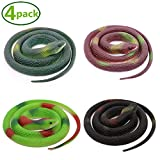 Homdipoo Realistic Fake Rubber Toy Snake Black Fake Snakes That Look Real Prank Stuff Cobra Snake 27 Inch Long (Multicolor)