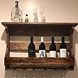 Indigo interiors Jorden Wooden Wall Hanging Design Bar | Bar Cabinets for Home | Mini Bar for Home | Solid Wood Make Wine Storage Cabinet with Glass Hanging Space-Teak Finish
