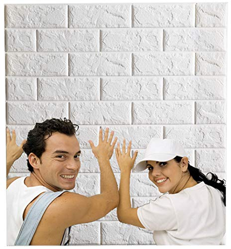 Arthome White Brick 3D Wall Panels Peel and Stick Wallpaper for Living Room Bedroom Background Wall Decoration (10...