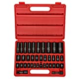 Neiko 02443A 3/8' and 1/2' Drive Master Impact Socket Set, 38 Piece Deep and Shallow Assortment | Standard SAE (Inch) and Metric (mm) Sizes | Cr-V Steel