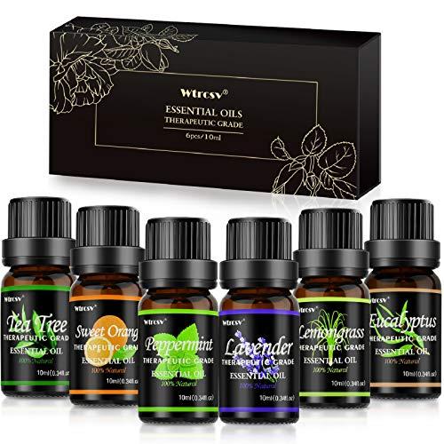 Aceite esencial natural, 6 aromas x 10 ml para difusor de ac