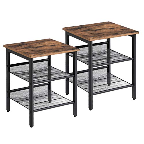 VASAGLE Set di 2 Tavolini a Lato Divano in Stile Industriale, con 2 Ripiani a Rete in Ferro, per...
