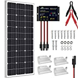 SOLPERK 100W Solar Panel 12V, Monocrystalline Solar Panel Kit with High Efficiency Module PV Power for Battery Charging, Off Grid Solar Panels for RV, Boat, Camper, Roof, Cabin, Shed, Home