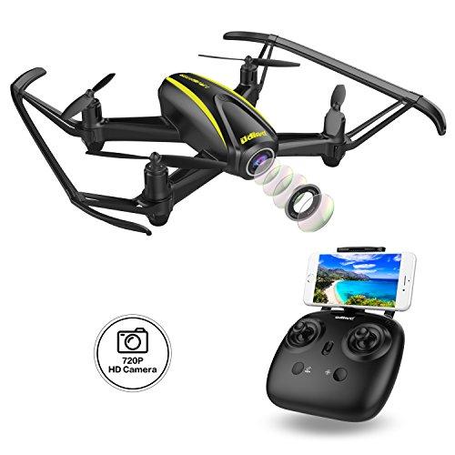 DROCON Drone con Telecamera HD 1280 x 720P con Grandangolare Regolabile Navigator Drone per Ragazzi U31W Wi-Fi FPV Quadricottero RC con Altitude Hold ed Headless Mode Adatto a Principianti, Nero