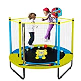 60' Trampoline for Kids, 5FT Indoor Outdoor Trampoline with Enclosure Net, Mini Baby Toddler Trampoline with Basketball Hoop, Recreational Trampolines Birthday Gifts for Children.