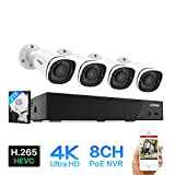 H.VIEW 4k Security Camera System 8CH 8MP PoE NVR with 4pcs 4K IP PoE...
