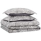 Amazon Basics Reversible Comforter Set, Full / Queen, Grey Paisley, Microfiber, Ultra-Soft