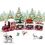 EKKONG Mini Train en Bois,Deco Noel Train Noël Décorations,décoration de Noel,Caravane Miniature Christmas Decorations,Mini Figurine décoration intérieure Maison (Marron)