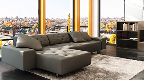Modern Button Tufting Leather Sectional Sofa Dark Grey