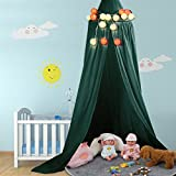 Lit pour enfant zjchao Dôme rond Moustiquaire suspendue Rideau Accessoires de chambre à coucher (Vert foncé)
