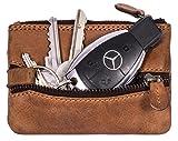 Hill Burry en Cuir véritable Porte-Clés | Porte-clés avec 2 Porte-clés | Key Case - Petit Portefeuille | Cas de Carte de crédit - Portefeuille Porte Carte Crédit en Cuir De Vachette | (Marron)