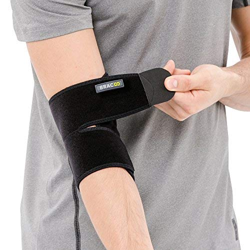 BRACOO ES10 Ellenbogenbandage - Bandage Ellenbogen - atmungsaktive Ellenbogenstütze mit Klettverschluss für Damen und Herren
