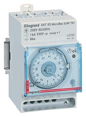 Legrand LEG92762 Horloge cadran analogique lexique programme journalier auto réserve marche 6 ans