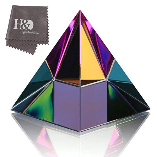 H&D HYALINE & DORA 3.5' H colorido cristal pirámide forma pisapapeles adorno de cristal con caja de regalo