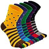 ZAKASA Chaussettes Homme Fantaisie Chaussettes avec 5 Doigts Chaussettes de sport avec Orteils pour running walking hiking, camping sneaker 5 Paires