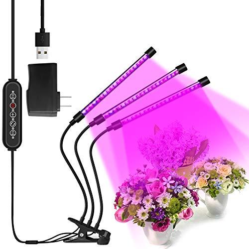 Lámpara de Crecimiento Lampara de Plantas Bawoo 60 LED Lampara de Cultivo Grow Light Indoor Lámpara de Planta Espectro Completo 30W Interruptor Temporizador Auto 3/6/12H Regulable 360°5 Brillo 6 Modos