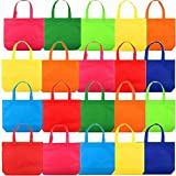 20Pack 13' Party Favor Gift Tote Bags, Assorted Bright Colors, Non-Woven Rainbow Treat Bags with Handles For Birthday Favors, Snacks, Toys