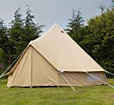 Andes 5m 100% Cotton Canvas Bell Tent With Heavy Duty Zipped In Groundsheet, Camping, Glamping, Festival, Luxury Teepee