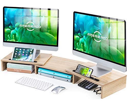 AMERIERGO Dual Monitor Stand Riser- 3 Shelf Screen Stand with...