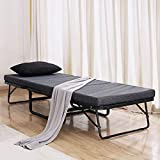 TATAGO Premium Ottoman Folding Bed with Steel Mesh Wire Lattice Base500lbs Max Weight Capacity, Extra-Thick CottonCover, Guest Hideaway, Dual Use 78 x 30