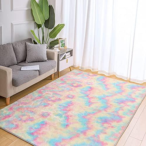 Wondo Super Soft Rainbow Rugs for Girls Bedroom Living Room, Fluffy Colourful Area Rug Shaggy Comfy Modern Home Decor Rugs playroom Mat Cute Plush Carpet for Kids Nursery, 4x5.9 Feet