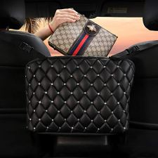 51IFTeKczZL INCREASE EXTRA SPACE STORAGE - The car handbag holder is a new storage organizer, it not only perfectly covers the interval space between the front two seats, but also utilizes unused space between and behind the front seats as a high-quality storage. This a simple fix to stop your purse or other items from dumping out or rolling around. This car hand bag holder is very convenient to organize and store the items such as phone, tissue, CD, water cup,mp3, charging cable, newspaper, magazine etc. ENSURE SAFE DRIVING - Car pocket handbag organizer can be as a special barrier that prevents naughty kids or pets in the back seat disturbing your daily drives. The handbag holder also helps reduce and prevents distraction while driving by providing easy access to your belongings without taking your eyes off the road. Our car storage bags makes getting your purse so easier, no longer have to ask someone riding in your back seat to hand you purse or some else you want. COMPATIBILITY–Please kindly note before buying. This car pocket handbag organizer compatible with most off-road vehicles, SUV UTV and other vehicles with headrest rod and console. It is not suitable for some car consoles, such as side-opening armrest box, no armrest box, double-opening armrest box, sports armrest box. Our car seat storage organizer could as a great gift for people who usually throw their purses or bags in the backseat and have to search for them when they need them.