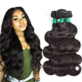 10A Brazilian Virgin Hair Body Wave 3 Bundles Deal (18' 16' 14') 100% Unprocessed Real Brazilian Human Hair Weave Weft Body Wave Natural Color Remy Hair Extensions Weaving Pecwu Hair