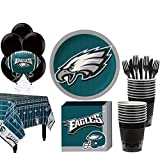 Party City Philadelphia Eagles Super Party Supplies for 18 Guests, Include Plates, Napkins, Table Cover, and Balloons