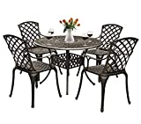 Grepatio 5 Piece All Weather Cast Aluminum Dining Set - 4 Lattice Weave Chairs, 1 Bistro Round Table with Umbrella Hole - Outdoor Furniture Dining Set for Patio, Yard, Garden