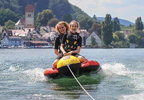MESLE Skibob Set Torpedo, incl. Zugleine, 2 Personen Fun-Tube, Towable-Tube, rot gelb, incl. Reparaturset, aufblasbar, Bananen-Boot für Kinder & Erwachsene, Speed-Wassergleiter, 840 D Nylon