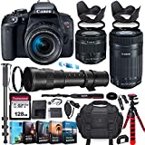 Canon EOS Rebel T7i DSLR Camera with 18-55mm is STM Lens + Canon EF-S 55-250 STM + 420-800mm Zoom...