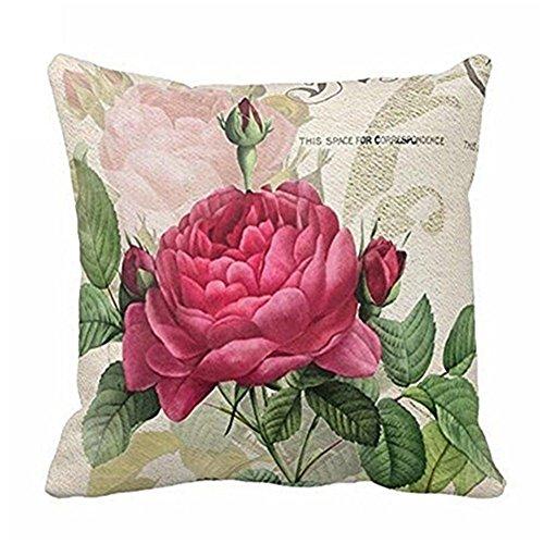 TOOGOO Vintage floreale/fiore di lino decorativo tiro cuscino federa casa divano decorativo (fiore...