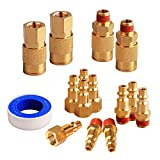 FYPower 15 Pieces 1/4' NPT Air Coupler and Plug Kit, Quick Connect Air Fittings, Industrial Solid Brass Quick Connect Set