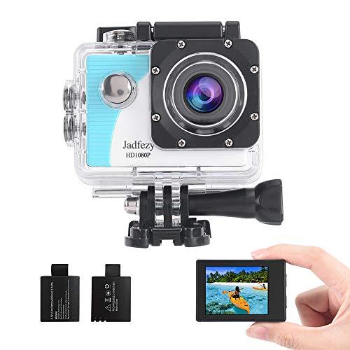 Jadfezy Action Camera Impermeabile Subacquea 40M con EIS 140 gradi Grandangolo Due 900mAh Batterie Ricaricabili e Accessori Kit (Blu-Bianco)