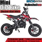 SYX MOTO Kids Dirt Bike Holeshot Electric Start 50cc Gas Power Mini Dirt Bike (Red)