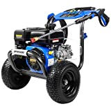 """Gas Pressure Washer, 3400 PSI at 2.6 GPM, 5 Kinds of Nozzles, Two 12"""" Large Wheels, 3.6L Gasoline Tank, Easy Move and Store, for Cleaning Walls, Terraces, Vehicles, Workshops, Gardens, etc"""