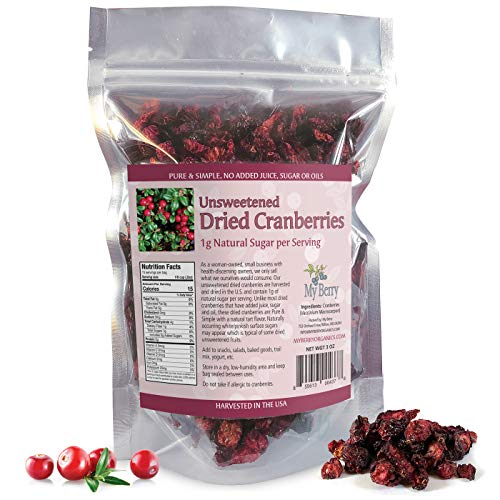 Unsweetened Dried Cranberries, No Added Sugar, Juice Or Oils, 1g Natural Sugar Per Serving, 3oz, More Berries Per Ounce Than Sweetened Berries, Woman-Owned Small Company