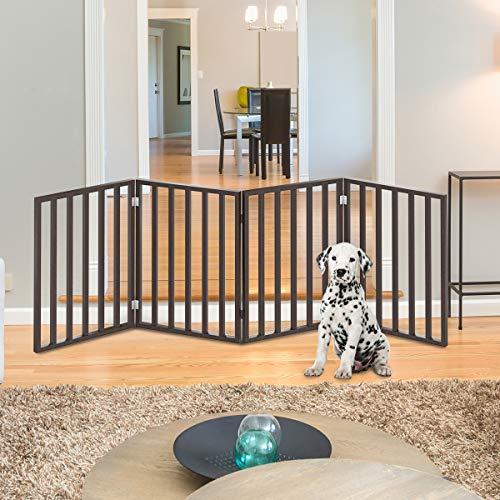 PETMAKER Wooden Pet Gate- Foldable 4-Panel Indoor...