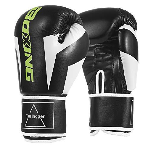 Tusingger Training Boxing Gloves Men & Women,Cool Style Boxing Gloves,Kickboxing Gloves,Muay Thai,Sparring Gloves,Heavy Bag Gloves for Boxing (Black, 12oz)