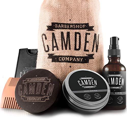 Kit barba deluxe per la cura della barba ● 100% naturale ● Made in EU ● Include olio, balsamo, spazzola e pettine per la cura della barba ● Set regalo per uomo di Camden Barbershop Company