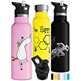 Double Insulated Water Bottle with Straw Lid & Sports Cap | Stainless Steel BPA Free Eco Friendly Non Sweat Durable Finish 17oz/ 20oz/ 25oz Metal Hydro Thermos Kids Water Bottle (17 oz, Yellow)