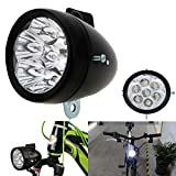 Fat-Cat Vintage Retro Bicycle Bike Front Light Lamp 7 LED Fixie Headlight with Bracket (Black)