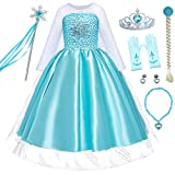 Party Chili Princess Costume Dress Up for Little Girls with Gloves,Crown,Wand,Wig,Necklace Accessories(2T 3T)