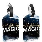 ATOMO Bolsa de equipaje de cuero Etiquetas imagen de cielo nocturno