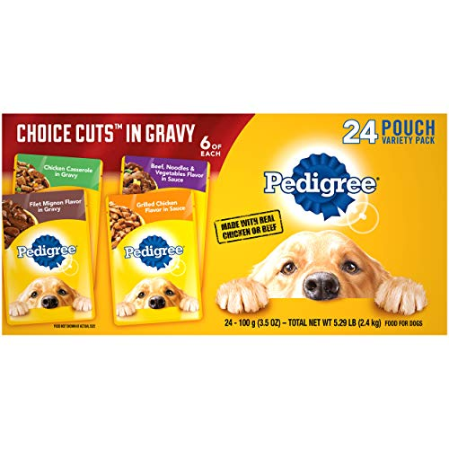 PEDIGREE Choice Cuts in Gravy Adult Soft Wet Meaty Dog Food Variety Pack, (24) 3.5 Oz. Pouches