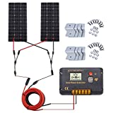 ECO-WORTHY 200 Watt (2pcs 100W) Monocrystalline Solar Panel Complete Off-Grid RV Boat Kit with LCD Charge Controller + Mounting Brackets for Homes RVs Car Battery Charging