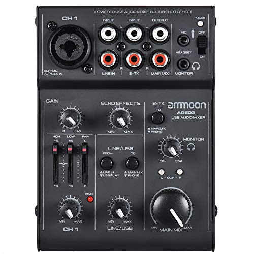 ammoon Consolle Mixer 5-Channel Mini Mic-Line Console di Mixaggio Mixer con USB Interfaccia Audio Effetto Eco Incorporato USB Alimentato per la Registrazione di DJ Rete in Diretta Trasmetti Karaoke